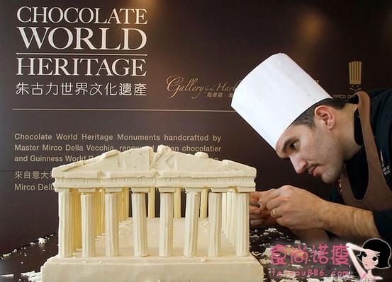 巧克力雕刻出世界名胜古迹